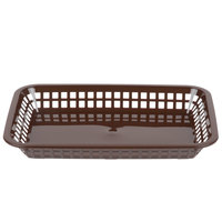 Tablecraft 1077BR Grande 10 3/4 inch x 7 3/4 inch x 1 1/2 inch Brown Rectangular Plastic Fast Food Basket - 12/Pack