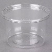 Choice 16 oz. Ultra Clear Recycled PET Plastic Round Deli Container and Lid Combo - 250/Case