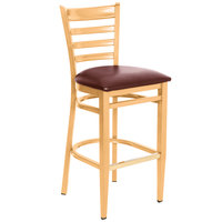 Lancaster Table &amp&#x3b; Seating Spartan Series Bar Height Metal Ladder Back Chair with Natural Wood Grain Finish and Burgundy Vinyl Seat