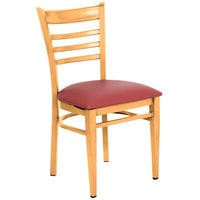 Lancaster Table &amp&#x3b; Seating Spartan Series Metal Ladder Back Chair with Natural Wood Grain Finish and Red Vinyl Seat