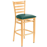Lancaster Table &amp&#x3b; Seating Spartan Series Bar Height Metal Ladder Back Chair with Natural Wood Grain Finish and Green Vinyl Seat