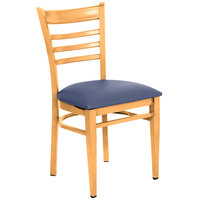 Lancaster Table &amp&#x3b; Seating Spartan Series Metal Ladder Back Chair with Natural Wood Grain Finish and Navy Vinyl Seat