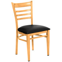Lancaster Table &amp&#x3b; Seating Spartan Series Metal Ladder Back Chair with Natural Wood Grain Finish and Black Vinyl Seat