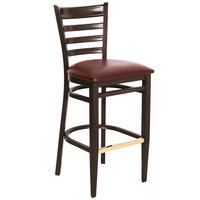 Lancaster Table &amp&#x3b; Seating Spartan Series Bar Height Metal Ladder Back Chair with Walnut Wood Grain Finish and Burgundy Vinyl Seat