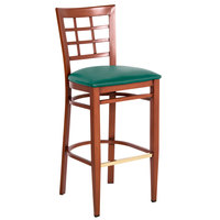 Lancaster Table & Seating Spartan Series Bar Height Metal Window Back Chair with Mahogany Wood Grain Finish and Green Vinyl Seat