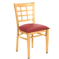 Lancaster Table &amp&#x3b; Seating Spartan Series Metal Window Back Chair with Natural Wood Grain Finish and Red Vinyl Seat