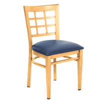 Lancaster Table &amp&#x3b; Seating Spartan Series Metal Window Back Chair with Natural Wood Grain Finish and Navy Vinyl Seat