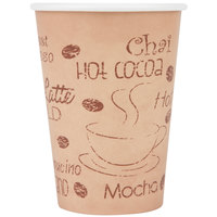 Choice 12 oz. Café Print Poly Paper Hot Cup - 50/Pack