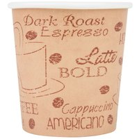 Choice 4 oz. Caf&#233&#x3b; Print Poly Paper Hot Cup - 50/Pack