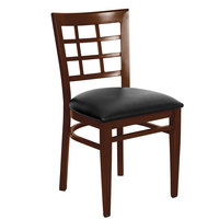 Lancaster Table &amp&#x3b; Seating Spartan Series Metal Window Back Chair with Walnut Wood Grain Finish and Black Vinyl Seat