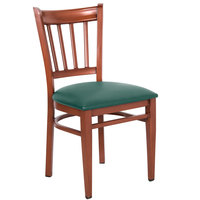 Lancaster Table &amp&#x3b; Seating Spartan Series Metal Slat Back Chair with Mahogany Wood Grain Finish and Green Vinyl Seat