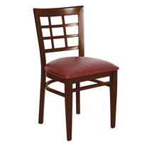 Lancaster Table &amp&#x3b; Seating Spartan Series Metal Window Back Chair with Walnut Wood Grain Finish and Burgundy Vinyl Seat