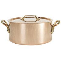 De Buyer 6447.16 1.9 Qt. Copper Sauce Pot / Stew Pan with Handles and Lid