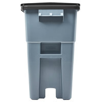 Rubbermaid FG9W2700GRAY Brute 50 Gallon Gray Rollout Trash Container with Lid