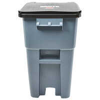 Rubbermaid FG9W2700GRAY Brute 50 Gallon Gray Wheeled Trash Can with Lid