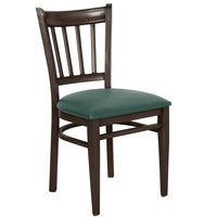 Lancaster Table & Seating Spartan Series Metal Slat Back Chair with Walnut Wood Grain Finish and Green Vinyl Seat