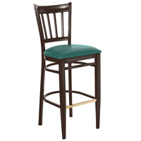 Lancaster Table & Seating Spartan Series Bar Height Metal Slat Back Chair with Walnut Wood Grain Finish and Green Vinyl Seat