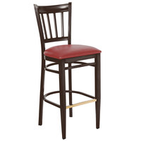 Lancaster Table &amp&#x3b; Seating Spartan Series Bar Height Metal Slat Back Chair with Walnut Wood Grain Finish and Red Vinyl Seat