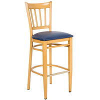 Lancaster Table &amp&#x3b; Seating Spartan Series Bar Height Metal Slat Back Chair with Natural Wood Grain Finish and Navy Vinyl Seat