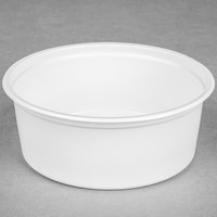 Choice 8 oz. White Microwavable Plastic Round Deli Container - 50/Pack