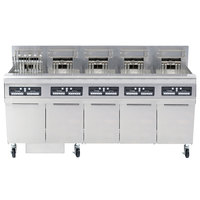 Frymaster FPRE517TC-SD High Efficiency Electric Floor Fryer with (5) 50 lb. Full Frypots and CM3.5 Controls - 208V, 3 Phase, 17kW