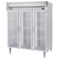Beverage-Air HFPS3-5G-LED Horizon Series 78 inch Glass Door All Stainless Steel Reach-In Freezer with LED Lighting