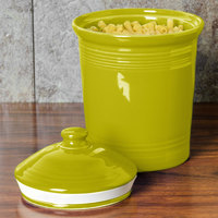 Homer Laughlin 571332 Fiesta Lemongrass Small 1 Qt. Canister with Cover - 2/Case