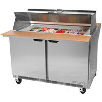 Beverage Air SPE48-18M-DS 48 inch 2 Door Mega Top Dual Sided Refrigerated Sandwich Prep Table