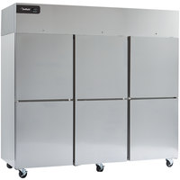 Delfield GBSF3P-SH Coolscapes 83 inch Top-Mount Three Section Half Door Stainless Steel Reach-In Freezer - 71 cu. ft.
