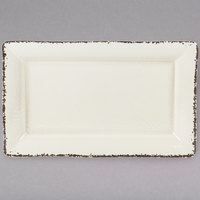 American Metalcraft AWMEL21 Endurance 21 inch x 13 inch x 2 inch Melamine Platter - Antique White