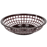 Brown 8 inch Round Plastic Fast Food Basket - 12/Case