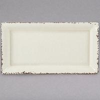 American Metalcraft AWMEL19 Endurance 14 1/4 inch x 7 1/2 inch x 1 1/2 inch Melamine Platter - Antique White