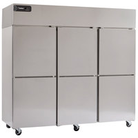 Delfield GBF3P-SH Coolscapes 83 inch Top-Mount Three Section Half Door Stainless Steel Reach-In Freezer - 71 cu. ft.