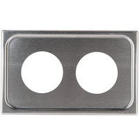 Nemco 66093 2 Hole Stainless Steel Steam Table Adapter Plate - 6 3/8 inch