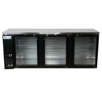 """Avantco UBB-4G 90"""" Glass Door Back Bar Cooler with Stainless Steel Top and LED Lighting"""