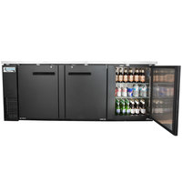 Avantco UBB-4 90 inch Solid Door Back Bar Cooler with Stainless Steel Top and LED Lighting