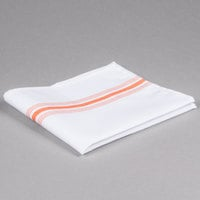 Marko 53771822NH414 Softweave Bistro 18 inch x 22 inch Orange Striped Napkin - 12/Pack