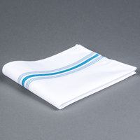 Marko 53771822NH630 Softweave Bistro 18 inch x 22 inch Belize Blue Striped Napkin - 12/Pack