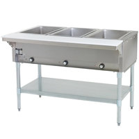 Eagle Group SHT3 Liquid Propane Steam Table Three Pan - All Stainless Steel - Open Well