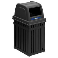 Commercial Zone 72740199 ArchTec Parkview 25 Gallon Black Trash / Recycling Receptacle with Decals