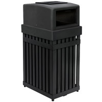 Commercial Zone 72710099 ArchTec Parkview 25 Gallon Black Trash / Recycling Receptacle with Ashtray Lid and Decals