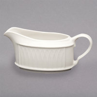 Homer Laughlin HL3177000 Gothic 6.5 oz. Ivory (American White) Undecorated China Sauce Boat - 36/Case