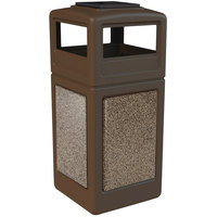 Commercial Zone 72055599 StoneTec 42 Gallon Brown Trash Receptacle with Riverstone Panels and Ashtray Dome Lid