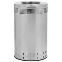 Commercial Zone 782329 Precision 45 Gallon Imprinted Stainless Steel Trash Receptacle and Open Top Lid Set