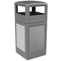 Commercial Zone 72041199 StoneTec 42 Gallon Gray Trash Receptacle with Ashtone Panels and Dome Lid