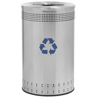 Commercial Zone 782729 Precision 45 Gallon Imprinted Stainless Steel Recycling Bin