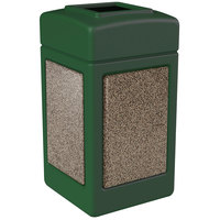 Commercial Zone 720354 StoneTec 42 Gallon Forest Green Trash Receptacle with Riverstone Panels