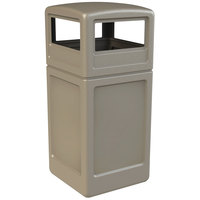 Commercial Zone 73290299 PolyTec 42 Gallon Beige Waste Container and Dome Lid Set