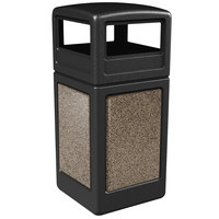Commercial Zone 72045299 StoneTec 42 Gallon Black Trash Receptacle with Riverstone Panels and Dome Lid