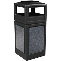 Commercial Zone 72051399 StoneTec 42 Gallon Black Trash Receptacle with Pepperstone Panels and Ashtray Dome Lid